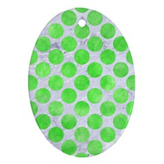 Circles2 White Marble & Green Watercolor (r) Ornament (oval)