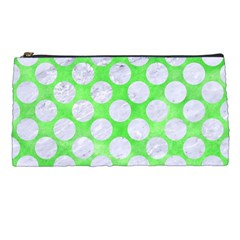 Circles2 White Marble & Green Watercolor Pencil Cases