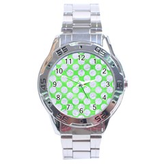 Circles2 White Marble & Green Watercolor Stainless Steel Analogue Watch by trendistuff