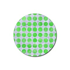 Circles1 White Marble & Green Watercolor (r) Rubber Coaster (round)  by trendistuff