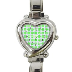 Circles1 White Marble & Green Watercolor (r) Heart Italian Charm Watch by trendistuff