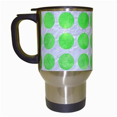Circles1 White Marble & Green Watercolor (r) Travel Mugs (white) by trendistuff