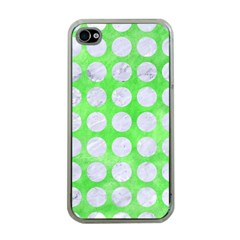 Circles1 White Marble & Green Watercolor Apple Iphone 4 Case (clear) by trendistuff