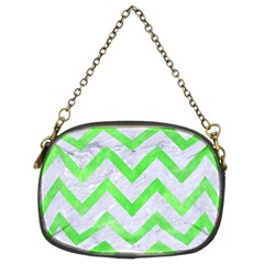 Chevron9 White Marble & Green Watercolor (r) Chain Purses (two Sides)  by trendistuff