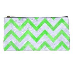 Chevron9 White Marble & Green Watercolor (r) Pencil Cases by trendistuff
