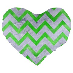 Chevron9 White Marble & Green Watercolor (r) Large 19  Premium Flano Heart Shape Cushions by trendistuff
