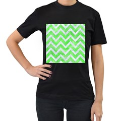 Chevron9 White Marble & Green Watercolor Women s T Shirt (black) (two Sided)