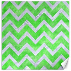 Chevron9 White Marble & Green Watercolor Canvas 12  X 12   by trendistuff