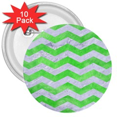 Chevron3 White Marble & Green Watercolor 3  Buttons (10 Pack)  by trendistuff