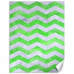 Chevron3 White Marble & Green Watercolor Canvas 12  X 16   by trendistuff