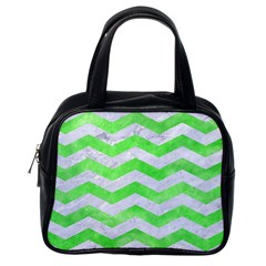 Chevron3 White Marble & Green Watercolor Classic Handbags (one Side) by trendistuff