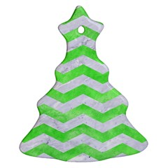 Chevron3 White Marble & Green Watercolor Ornament (christmas Tree)  by trendistuff