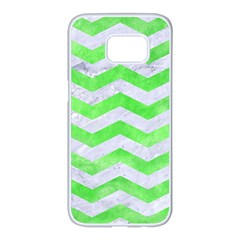 Chevron3 White Marble & Green Watercolor Samsung Galaxy S7 Edge White Seamless Case by trendistuff