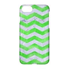 Chevron3 White Marble & Green Watercolor Apple Iphone 8 Hardshell Case by trendistuff