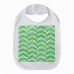 Chevron2 White Marble & Green Watercolor Bib