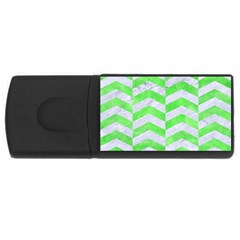 Chevron2 White Marble & Green Watercolor Rectangular Usb Flash Drive by trendistuff