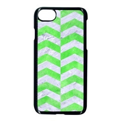 Chevron2 White Marble & Green Watercolor Apple Iphone 8 Seamless Case (black)