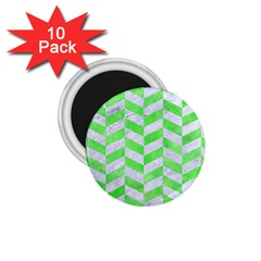 Chevron1 White Marble & Green Watercolor 1 75  Magnets (10 Pack)