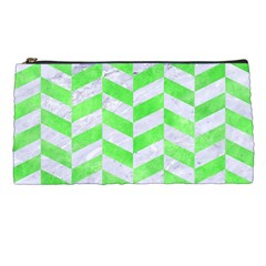 Chevron1 White Marble & Green Watercolor Pencil Cases by trendistuff