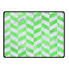 Chevron1 White Marble & Green Watercolor Double Sided Fleece Blanket (small)  by trendistuff