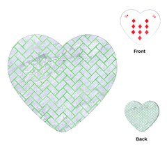 Brick2 White Marble & Green Watercolor (r) Playing Cards (heart)  by trendistuff
