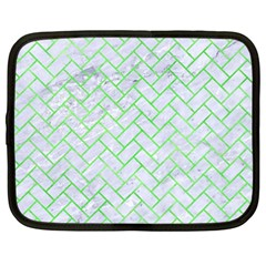 Brick2 White Marble & Green Watercolor (r) Netbook Case (large) by trendistuff
