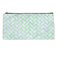 Brick2 White Marble & Green Watercolor (r) Pencil Cases by trendistuff