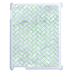 Brick2 White Marble & Green Watercolor (r) Apple Ipad 2 Case (white) by trendistuff