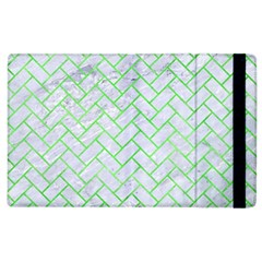 Brick2 White Marble & Green Watercolor (r) Apple Ipad 3/4 Flip Case by trendistuff