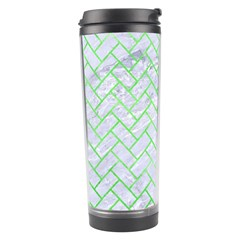 Brick2 White Marble & Green Watercolor (r) Travel Tumbler by trendistuff