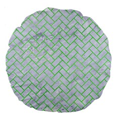 Brick2 White Marble & Green Watercolor (r) Large 18  Premium Flano Round Cushions by trendistuff