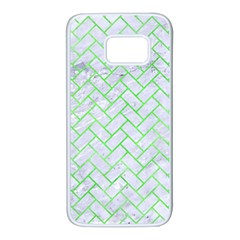 Brick2 White Marble & Green Watercolor (r) Samsung Galaxy S7 White Seamless Case