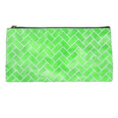 Brick2 White Marble & Green Watercolor Pencil Cases by trendistuff