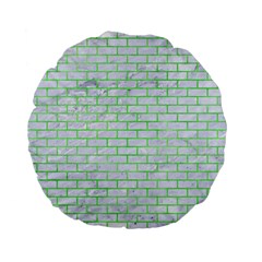Brick1 White Marble & Green Watercolor (r) Standard 15  Premium Flano Round Cushions by trendistuff