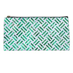 Woven2 White Marble & Green Marble (r) Pencil Cases by trendistuff