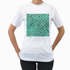 Woven2 White Marble & Green Marble Women s T Shirt (white) (two Sided)