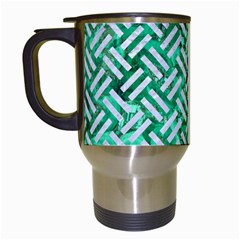 Woven2 White Marble & Green Marble Travel Mugs (white) by trendistuff