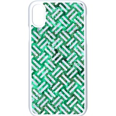 Woven2 White Marble & Green Marble Apple Iphone X Seamless Case (white) by trendistuff