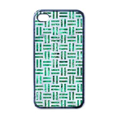 Woven1 White Marble & Green Marble (r) Apple Iphone 4 Case (black) by trendistuff
