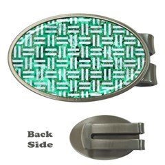 Woven1 White Marble & Green Marble Money Clips (oval)