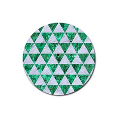 Triangle3 White Marble & Green Marble Rubber Round Coaster (4 Pack)  by trendistuff