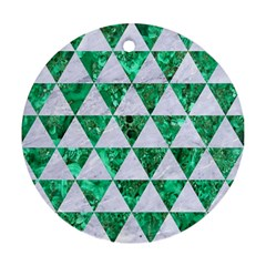 Triangle3 White Marble & Green Marble Round Ornament (two Sides) by trendistuff