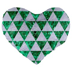 Triangle3 White Marble & Green Marble Large 19  Premium Flano Heart Shape Cushions by trendistuff