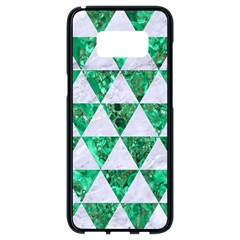 Triangle3 White Marble & Green Marble Samsung Galaxy S8 Black Seamless Case