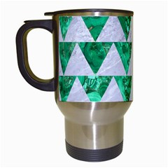 Triangle2 White Marble & Green Marble Travel Mugs (white) by trendistuff
