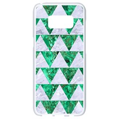 Triangle2 White Marble & Green Marble Samsung Galaxy S8 White Seamless Case by trendistuff