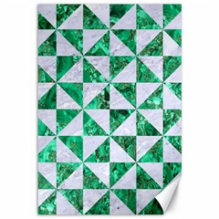 Triangle1 White Marble & Green Marble Canvas 12  X 18   by trendistuff