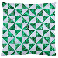 Triangle1 White Marble & Green Marble Standard Flano Cushion Case (two Sides)
