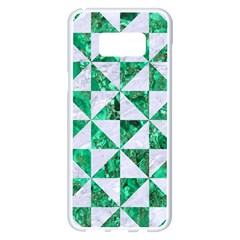 Triangle1 White Marble & Green Marble Samsung Galaxy S8 Plus White Seamless Case