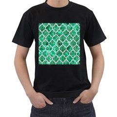 Tile1 White Marble & Green Marble Men s T Shirt (black) (two Sided) by trendistuff